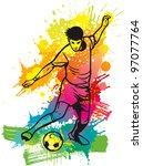 soccer player kicks the ball | Shutterstock .eps vector #97077764