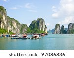floating village in ha long bay ... | Shutterstock . vector #97086836