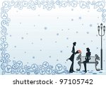 romantic couple and beautiful... | Shutterstock .eps vector #97105742