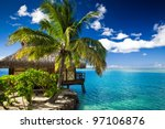 tropical bungalow and palm tree ...   Shutterstock . vector #97106876
