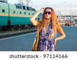 young woman waiting train on... | Shutterstock . vector #97114166