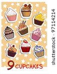 9 different delicious cupcakes... | Shutterstock .eps vector #97114214