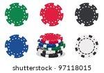 illustration of casino chips on ... | Shutterstock .eps vector #97118015