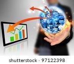 businessman holding business... | Shutterstock . vector #97122398