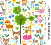 cute animals seamless ... | Shutterstock .eps vector #97123574