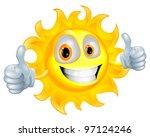 a sun cartoon mascot giving a... | Shutterstock .eps vector #97124246