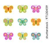 Stock vector retro butterflies 97130459