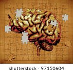 Stock photo a puzzle features the image of a human brain depicts the mystery of human consciousness 97150604