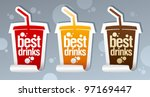 Best drinks stickers in form of take away cup. - stock vector