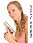 sexy young woman with a gun... | Shutterstock . vector #97170662