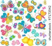 colorful butterflies set | Shutterstock .eps vector #97173542