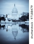 Stock photo united states capitol building with mirror reflection in water washington dc split tone effect 97188479