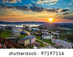 aerial view of a township in... | Shutterstock . vector #97197116