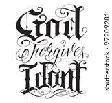hand made tattoo lettering | Shutterstock .eps vector #97209281