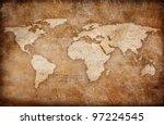 grunge world map background   Shutterstock . vector #97224545
