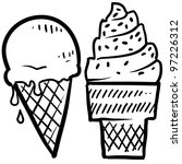 Doodle ice cream cone frozen dessert style sketch in vector format - stock vector
