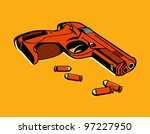 gun with bullets in retro three ...
