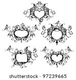 Set Of Vector Heart Frame With...