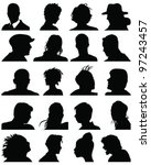 set of silhouettes of heads 5... | Shutterstock .eps vector #97243457