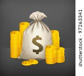 stacks of coins and money bag ...   Shutterstock .eps vector #97263341