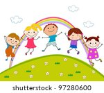 kids jumping | Shutterstock .eps vector #97280600