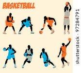 basketball silhouette | Shutterstock .eps vector #97284791