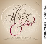 happy easter hand lettering  ... | Shutterstock .eps vector #97300763