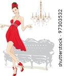 beautiful girl in red dress... | Shutterstock .eps vector #97303532