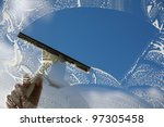 window cleaner using a squeegee ... | Shutterstock . vector #97305458