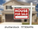 house for sale real estate sign ... | Shutterstock . vector #97306496
