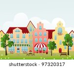 old town street with shop  cafe ... | Shutterstock .eps vector #97320317