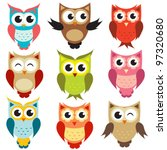 Stock vector vector owls 97320680