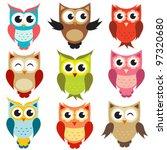vector owls | Shutterstock .eps vector #97320680