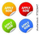 apply now stickers set  vector... | Shutterstock .eps vector #97323647