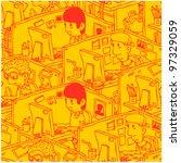seamless cartoon office line... | Shutterstock .eps vector #97329059