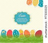 bright easter eggs card   Shutterstock .eps vector #97333325