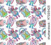 doodle owl seamless pattern | Shutterstock . vector #97335425