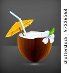 coconut cocktail  vector | Shutterstock .eps vector #97336568