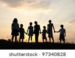 group of happy children playing ...   Shutterstock . vector #97340828