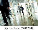 businesspeople going along... | Shutterstock . vector #97347002