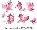set of pink butterflies... | Shutterstock .eps vector #97348328