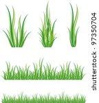 set of green grass and shrubs | Shutterstock .eps vector #97350704