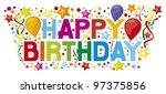 happy birthday party design | Shutterstock .eps vector #97375856