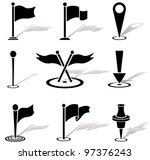 set of black labels icons ...