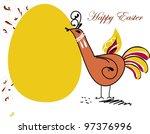 easter chicken in folk... | Shutterstock .eps vector #97376996