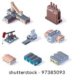vector isometric buildings icon ... | Shutterstock .eps vector #97385093