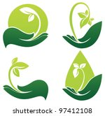 green hands  vector collection...