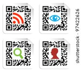 Social icons in labels set with QR codes sign. Vector file available. - stock vector