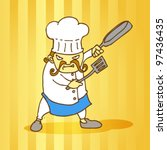 angry chef illustration | Shutterstock .eps vector #97436435
