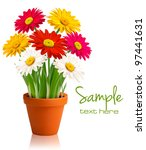 fresh spring color flowers.... | Shutterstock .eps vector #97441631